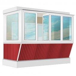Остекление балкона ПВХ Veka с выносом и отделкой вагонкой с утеплением 3.2 м Г-образное