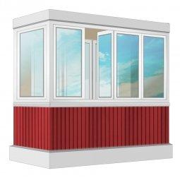 Остекление балкона ПВХ Exprof с отделкой ПВХ-панелями без утепления 2.4 м Г-образное