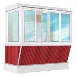Остекление балкона ПВХ Exprof с выносом и отделкой ПВХ-панелями с утеплением 2.4 м П-образное