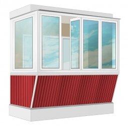 Остекление балкона ПВХ Veka с выносом и отделкой ПВХ-панелями без утепления 2.4 м Г-образное