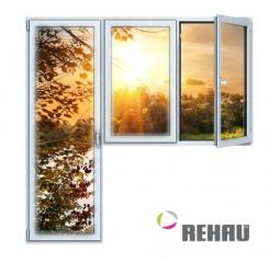 Балконный блок ПВХ Rehau 2100х2100 мм 2-ЛГ-ПП 1 стеклопакет