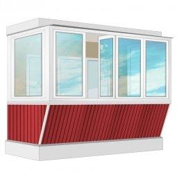 Остекление балкона ПВХ Rehau с выносом и отделкой вагонкой без утепления 3.2 м П-образное