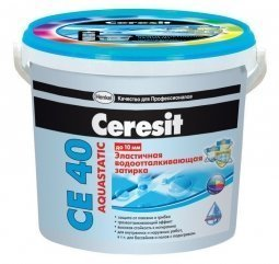 Затирка Ceresit СЕ 40 Aquastatic для швов до 10 мм эластичная водоотталкивающая противогрибковая сахара (2кг)