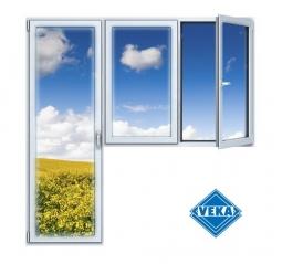 Балконный блок ПВХ Veka 2100х2100 мм 2-ЛГ-ПП 2 стеклопакет