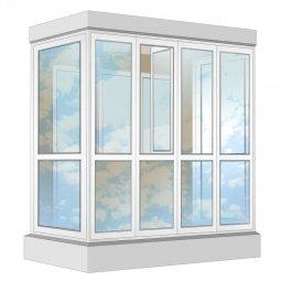 Остекление балкона ПВХ Rehau в пол с отделкой ПВХ-панелями без утепления 2.4 м П-образное