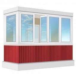 Остекление балкона ПВХ Veka с отделкой вагонкой с утеплением 3.2 м П-образное