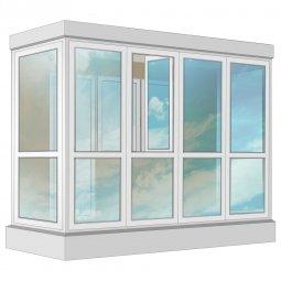 Остекление балкона ПВХ Exprof в пол 3.2 м П-образное