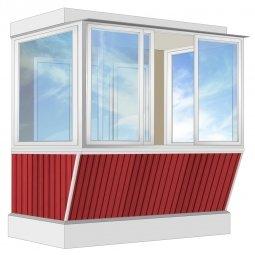 Остекление балкона Алюминиевое Provedal с выносом и отделкой ПВХ-панелями без утепления2.4 м П-образное
